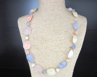 Marbled Lucite Bead Necklace Pastel Colors Multicolor 19 - 22 Inches