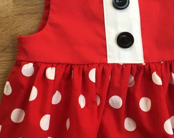 Red Minnie Mouse Inspired Sleeveless Empire Waist Dress