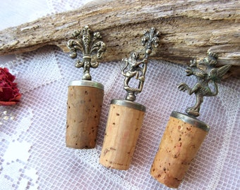 Wine Cork  Bottle Topper  Decorative Wine Bottle Cork Stopper - set of 3.