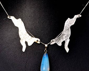 Handcrafted Moon Hare Necklace in Sterling Silver.