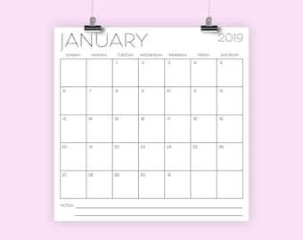 Square 2019 Calendar Template | INSTANT DOWNLOAD | Art Deco Sans Serif Large Monthly Printable Minimal Desk Calender | Prints 12 x 12 Inches
