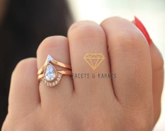 Unique Pear Shaped Engagement Ring Boho Bridal Ring Set V Shaped Chevron  Wedding Band In Solid 14k Real Rose Gold Alternative Wedding Rings