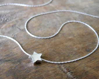 Star Bead Necklace, Silver Star Necklace, Sterling Silver Necklace, Layering Necklace, Silver Star Pendant, Simple Silver Necklace, #312