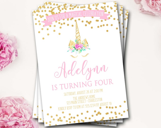 Unicorm Birthday Invitation, Unicorn Invitation, Unicorn Invite, Girl Birthday, Pink and Gold, Unicorn Party, DIY Printable