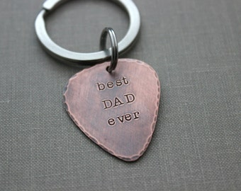 Rustic Guitar Pick keychain, best DAD ever, Hand Stamped Copper Guitar Pick, 18g, Gift for Dad, Husband, Present for him