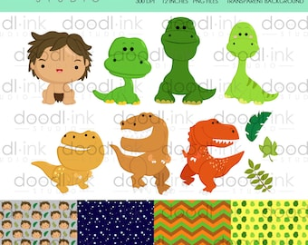 SALE 50%!!! Cute Dinosaur and Friends Digital Clipart / Dino Clip Art / Digital Paper For Personal Use / INSTANT DOWNLOAD