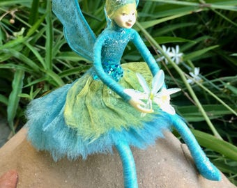 "Fae Folk® Fairies - AERIE - Stardust Fairy. Bendable, posable 5"" soft doll can sit, stand, or hang."