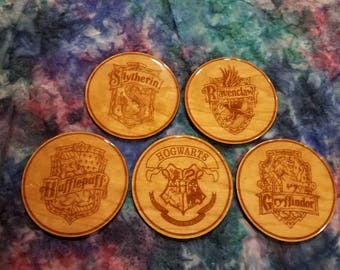 Harry Potter Inspired Hogwarts House Crest Coasters