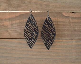 CLOSEOUT Large Black Filigree Earrings - Leaf Earrings - Zebra Earrings - Black Statement Earrings - Dangle Earrings - Lightweight Earrings
