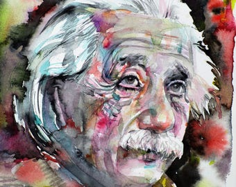 ALBERT EINSTEIN - original watercolor portrait - one of a kind!