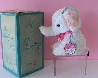 Precious Vintage 1950s Rayon Plush Stuffed Toy BABY ELEPHANT in original box w tag by Trudy ToygsMINT