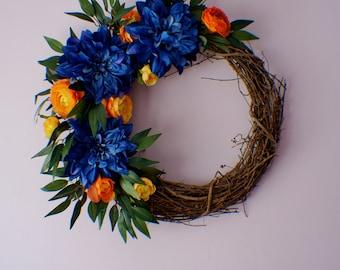 Front Door Wreaths, Wreath for Front Door, Dahlia Wreath, Blue Wreath, Summer Wreath, Fall Wreath, Thanksgiving, Mothers Day