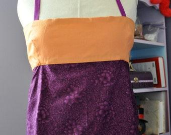 Apron Top 1, Orange & Purple, Womens S/M