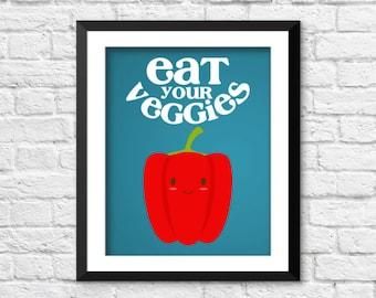 Eat your veggies art, kitchen decor, retro kitchen art, kids kitchen decor, funny kitchen art, home decor, vegetables art print