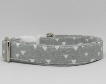 Geometric Cat Collar,Triangle cat collar,Gray Cat Collars, Breakaway Collars, Cotton Cat Collars, Cat Collars, Kitty Collar, Cats Collar