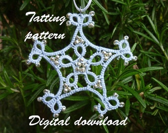 Beaded snowflake shuttle tatting pattern, Christmas decoration pattern, pdf download tatting pattern, shuttle tatting pattern, frivolite