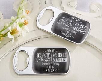 Personalized Silver Bottle Opener, Eat Drink And Be Married Wedding Favors, Custom Wedding Bottle Opener (11141ED)