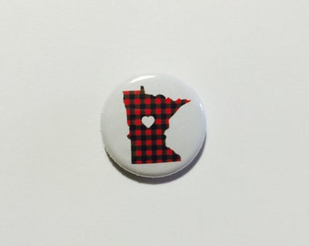 Minnesota Pin - Minnesota Love Flannel Pinback Button by Oh Geez! Design