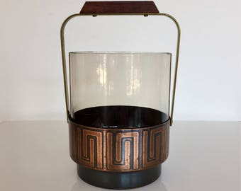 Mid century 60s ice bucket made of copper with a smoked glass use Golden handle with teak handle