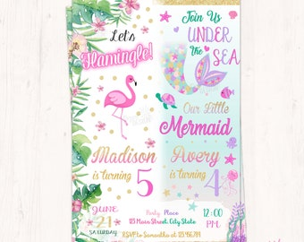 Flamingo and Mermaid Invitation, Twins Birthday Invitation, Sisters Invitation