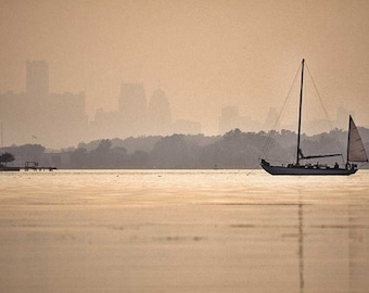 Detroit Looms in the Mist Over Belle Island With Anchored Classic Sailboat in the Foreground Fine Art Photo