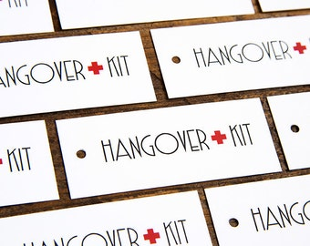 SALE - Hangover Kit Tags -  Wedding Hang Tags - SET OF 10