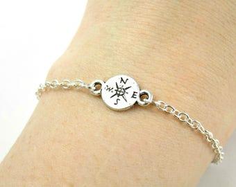 Compass Bracelet, Dainty Bracelet Silver Minimal Bracelet, Silver Compass Charm Bracelet, Coin Travelling Jewelry, Travel Backpacker Leaving