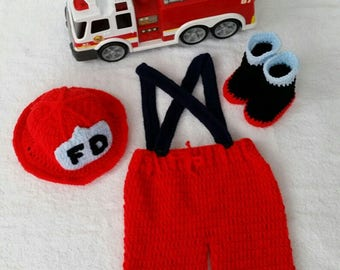 Baby Photo Prop Pattern, Baby Fireman Outfit, Crochet Fireman Pattern,  Baby Photo Prop Crochet, Baby Photo Prop Outfit, Crochet Pattern