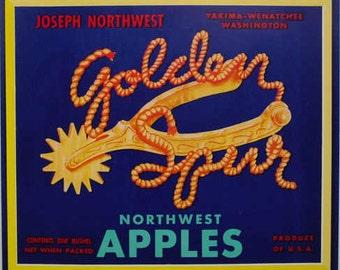 1950s Western Golden Spur Cowboy Vintage Crate Label