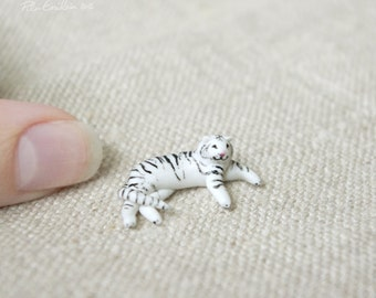 Miniature White tiger, Polymer clay sculpture, made to order