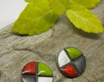 Checkered earrings/ Circle Ceramic Studs/ Stud Earrings/ Geometric earrings/ Circle earrings / Ceramic earrings/ Great mothers day gift