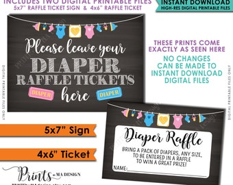 """Diaper Raffle Ticket Sign & Cards, Baby Shower Raffle, Raffle to Win Neutral Clothesline, Instant Download 5x7"""" Chalkboard Style Printable"""