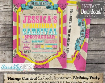Vintage Carnival Pink Invitation - INSTANT DOWNLOAD -  Editable & Printable Circus, Sideshow, Birthday Party Invitation by Sassaby Parties