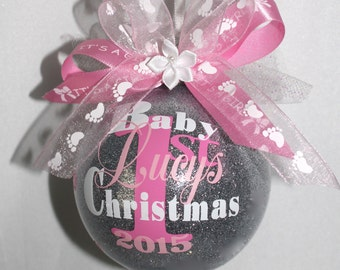 "Baby's first christmas ornament personalized with year and baby Girls name. 3"" Plastic  or Glass ornament made with Vinyl decals"