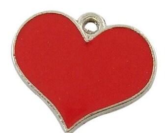 1 16.5 red enamel heart pendant charm * 19 mm