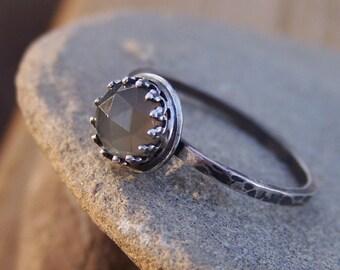 Yang - Rose Cut 6mm Black Moonstone in Sterling Silver Crown Bezel