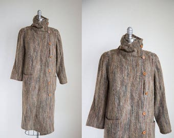 1990s vintage brown chocolate faux mohair long sweater coat L