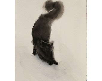 Black Cat Art, Original Watercolor Painting, Gift, Wall Decor, Animal Painting