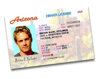 Fast and the Furious Drivers License - Arizona - Costume Prop, Paul Walker - Brian Spilner