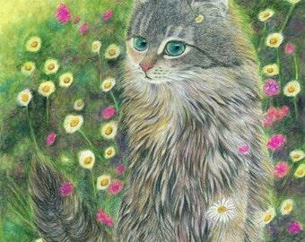 cat painting digital art print - Hippie, Bohemia, Love, Cat - wildflowers garden cat lover's gift boho shabby chic decor wall art, A3 print
