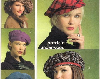 Vogue V8528 Hat Sewing Pattern Patricia Underwood Newsboy Cap Beret Tam Bonnet OOP Uncut Size X-Small Small Medium Large