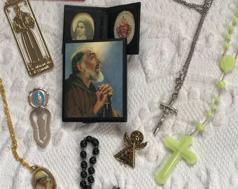 Religious lot .  Lot of  9 . religious jewelry . cross necklace .religious bookmark . rosary . Mother Theresa necklace