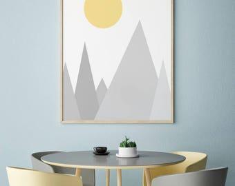 Geometric Print, Geometric Art, Triangles Art, Scandinavian Decor, Minimalistic Art, Modern Home Decor, Abstract Wall Art, Instant Download