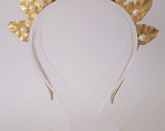 Gold Leaf Crown,Fascinator,Tiara, Headpiece