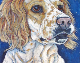 """Custom Pet Portrait 20""""x16"""" Painting in Acrylic Paint on Canvas of One Dog, Cat, Horse, etc. Ready to Hang Pet Memorial or Animal Lover Gift"""