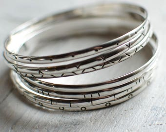 Bangle silver weekly Bangle silver Sterling, 3 mm, line, dot, plain, minimalist, timeless, ethnic