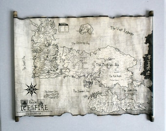 Essos Map and Westeros Map Scroll Poster Game of Thrones Map of Essos and Map of Westeros from book series A Song of Ice and Fire GoT Map