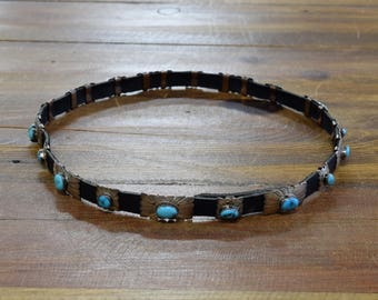 Vintage Sterling Silver and Turquoise Concho Hatband