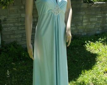 Handmade 1970's Disco Era Empire Waist Maxi Dress. Light Blue With Bead and Rhinestone Accents. Size Medium. Sleeveless. Party/Event/Formal