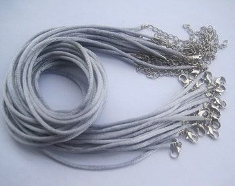 30pcs 2mm 18-20 inch adjustable gray satin necklace cord with clasp and chain